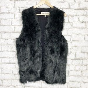 Sebby collection faux fur vest in black